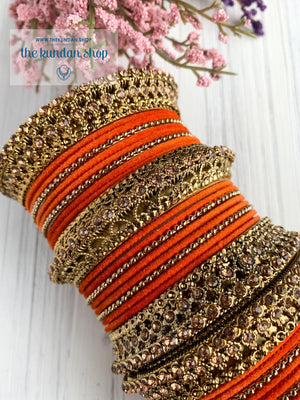 Orange Velvet & Bronze Bangle Set Bangles THE KUNDAN SHOP