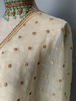Basic & Classic Cream Dupatta, Dupatta - THE KUNDAN SHOP