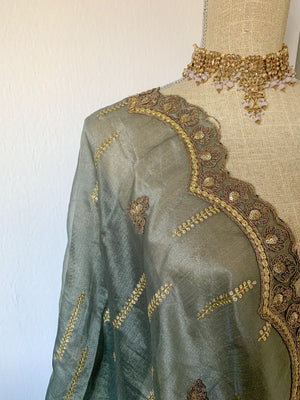 Dusty Grey Organza Dupatta Dupatta THE KUNDAN SHOP