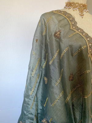 Dusty Grey Organza Dupatta, Dupatta - THE KUNDAN SHOP