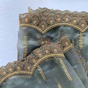 Dusty Grey Organza Dupatta