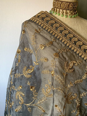 A Paisley Border Grey Organza Dupatta, Dupatta - THE KUNDAN SHOP