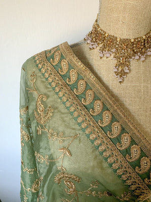 A Paisley Border Sea Green Organza Dupatta