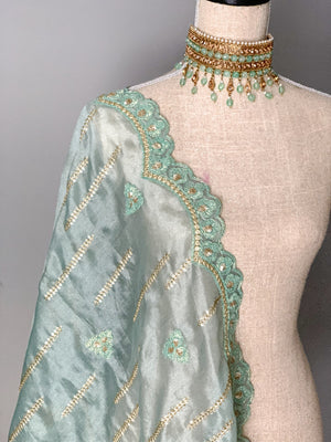Dusty Mint Organza Dupatta