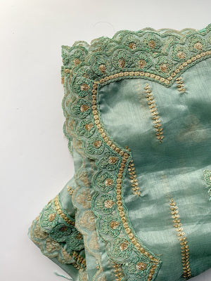 Dusty Mint Organza Dupatta, Dupatta - THE KUNDAN SHOP
