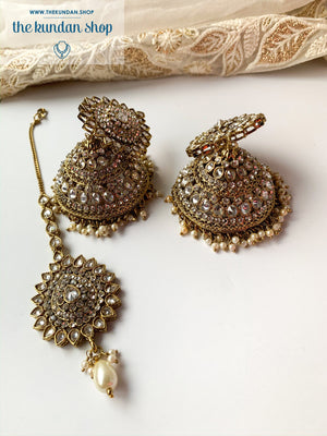 Jhumka in Stone - Antique Gold, Earrings + Tikka - THE KUNDAN SHOP