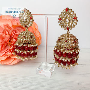 Kindly Jhumkis Earrings THE KUNDAN SHOP Ruby 1