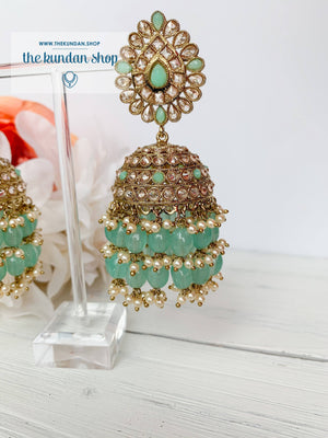 Kindly Jhumkis Earrings THE KUNDAN SHOP Mint