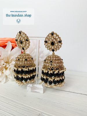 Kindly Jhumkis Earrings THE KUNDAN SHOP Black