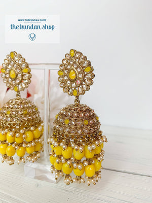 Kindly Jhumkis Earrings THE KUNDAN SHOP Yellow