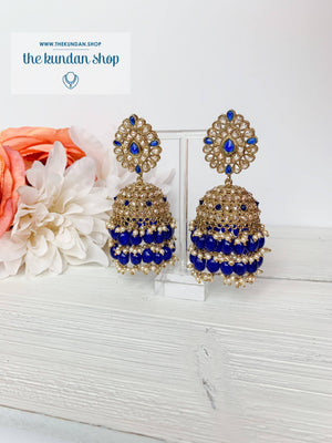 Kindly Jhumkis Earrings THE KUNDAN SHOP Blue