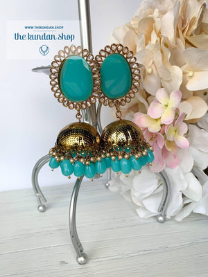 Elliptic Jhumkis, Earrings - THE KUNDAN SHOP