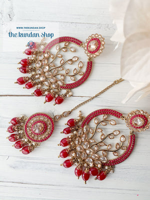 Smooth Move - Red, Earrings + Tikka - THE KUNDAN SHOP