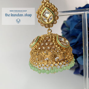Entourage Jhumkis in Mint, Earrings - THE KUNDAN SHOP