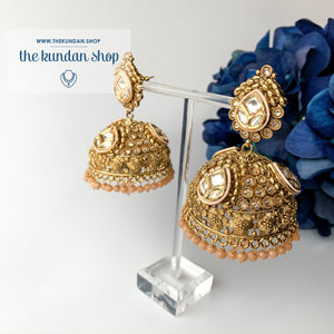 Entourage Jhumkis in Peach, Earrings - THE KUNDAN SHOP