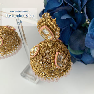 Entourage Jhumkis in Light Pink, Earrings - THE KUNDAN SHOP
