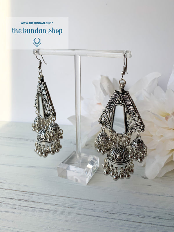 Silver Series - Statement Jhumki, Earrings - THE KUNDAN SHOP