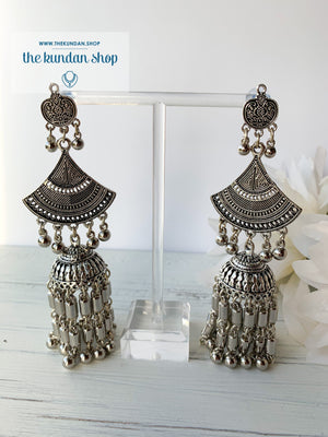 Silver Series - Three Layer Jhumkis, Earrings - THE KUNDAN SHOP