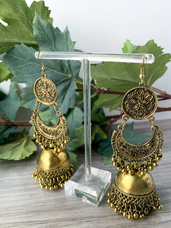 Dusty in Oxidized Gold, Earrings - THE KUNDAN SHOP
