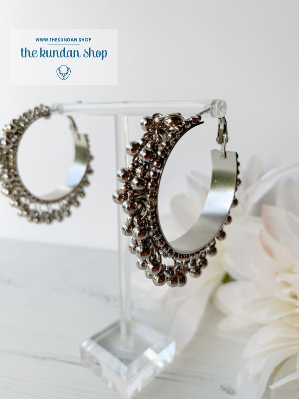 Silver Series - Beaded Hoops, Earrings - THE KUNDAN SHOP