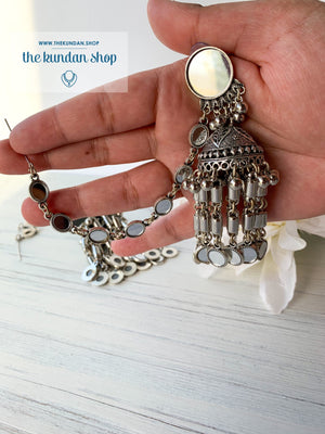 Silver Series - Mirror Jhumki Sahara, Earrings - THE KUNDAN SHOP