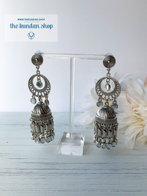 Silver Series - Chaandbaali Jhumkis, Earrings - THE KUNDAN SHOP