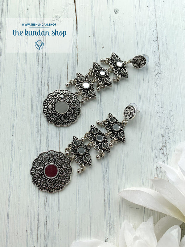 Silver Series - A Long Drop, Earrings - THE KUNDAN SHOP