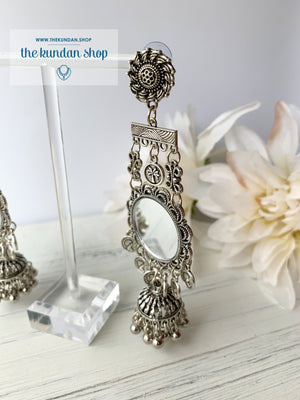 Silver Series - Mirrored Sun, Earrings - THE KUNDAN SHOP
