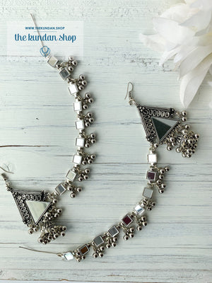 Silver Series - Pyramid Jhumki & Sahara, Earrings - THE KUNDAN SHOP