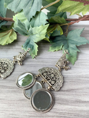 Silver Series - Hanging Mirrors, Earrings - THE KUNDAN SHOP