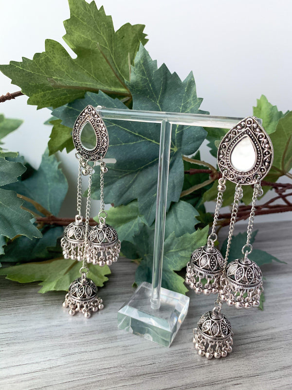 Silver Series - Three Strings, Earrings - THE KUNDAN SHOP