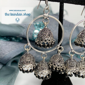 Silver Series - Black Beads Earrings THE KUNDAN SHOP