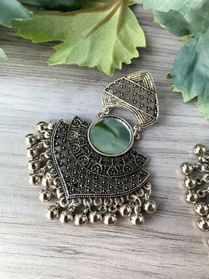 Silver Series - Mirrored Chandbaali, Earrings - THE KUNDAN SHOP