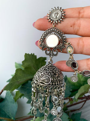 Silver Series - Silver Coins, Earrings - THE KUNDAN SHOP