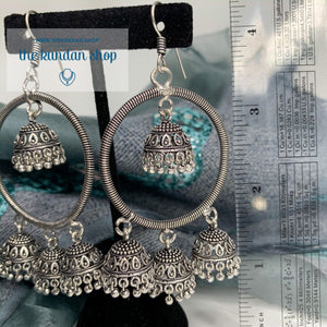 Silver Series - Spiral Jumkis, Earrings - THE KUNDAN SHOP