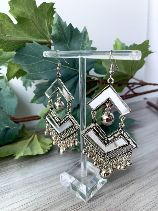 Silver Series - Mirror Diamonds, Earrings - THE KUNDAN SHOP