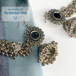 Silver Series - Oxidized Sahara Earrings THE KUNDAN SHOP
