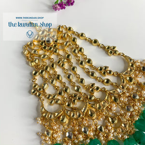 Bridal Paachi Kundan Passa - Emerald Passa THE KUNDAN SHOP