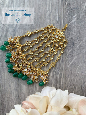 Bridal Paachi Kundan Passa - Emerald, Passa - THE KUNDAN SHOP