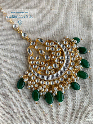 Leader Tikka in Green Earrings + Tikka THE KUNDAN SHOP