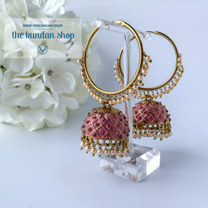 Rhinestone Painted Jhumki, Earrings - THE KUNDAN SHOP