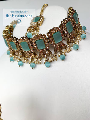 Valiant in Pastel Blue Necklace Sets THE KUNDAN SHOP