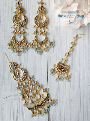 Ornate in Pastel Blue Earrings + Tikka THE KUNDAN SHOP