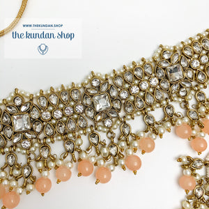 Over The Moon - Peach, Necklace Sets - THE KUNDAN SHOP