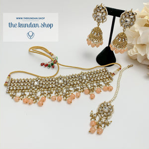 Over The Moon - Peach Necklace Sets THE KUNDAN SHOP