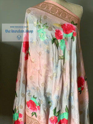 Banarsi Floral - Peach & Grey, Dupatta - THE KUNDAN SHOP
