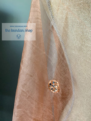 Through a Mirror - Peach, Dupatta - THE KUNDAN SHOP