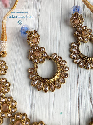 A Love of Polki in Peach Necklace Sets THE KUNDAN SHOP
