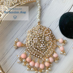 A Beauty In Jumki Jadau Set - Peach, Necklace Sets - THE KUNDAN SHOP