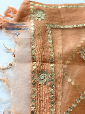 Endless in Peach, Dupatta - THE KUNDAN SHOP